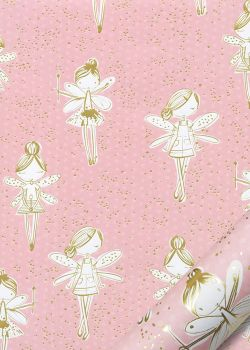 Les fées sur fond rose réhaussé or (68x98)