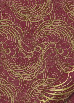 Lokta arabesques or fond rouge foncé (50x75)