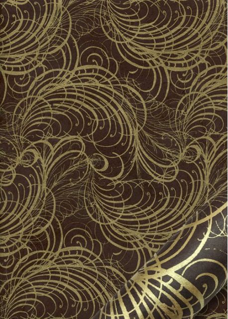 Lokta arabesques or fond chocolat (50x75)