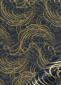 Lokta arabesques or fond bleu foncé (50x75)