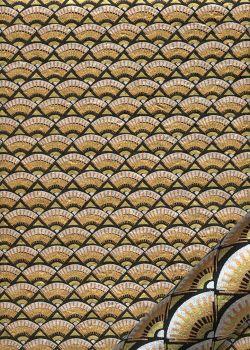 Lokta eventails or argent et cuivre sur fond noir (50x75)