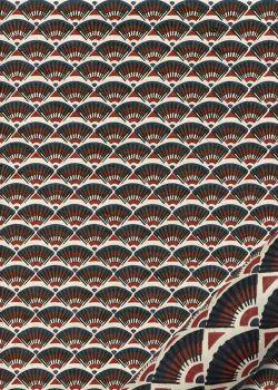Lokta eventails noir bordeaux et bleu sur fond ivoire (50x75)