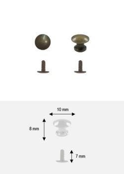 Bouton lentille bronze PM + vis (Ø10 H:08mm)