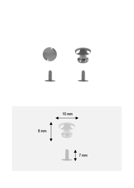 Boutons lentille argent PM + vis (Ø10 H:8mm)
