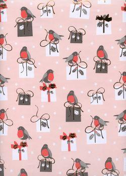 Oiseaux et cadeaux fond rose (50x70)