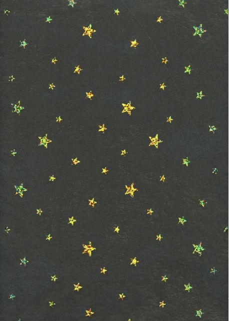 Voile intissé noir incrustation étoiles or (50x70)