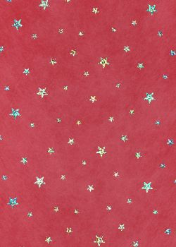 Voile intissé rouge incrustation étoiles argent (50x70)