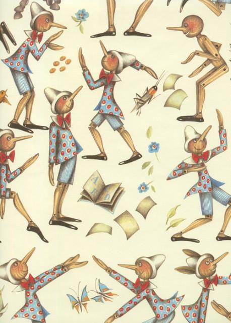 Pinocchio bleu fond ivoire (70x100)