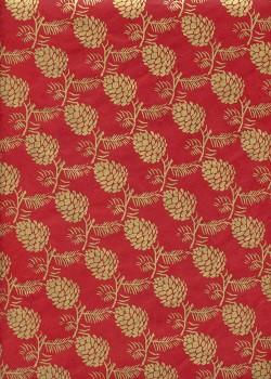 Papier lokta pommes de pin or fond rouge (50x70)