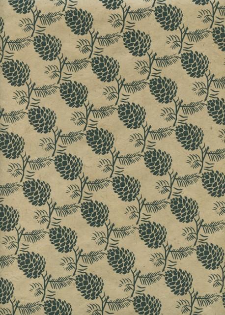 Papier lokta pommes de pin vert kaki fond beige (50x70)