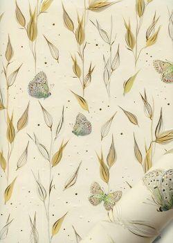 Papier Turnowsky herbes et papillons réhaussé or (50x70)
