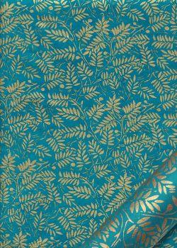 Papier lokta rameaux or fond bleu turquoise (50x75)