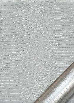 """Papier imitation Croco """"argent mat"""" (70x100)"""