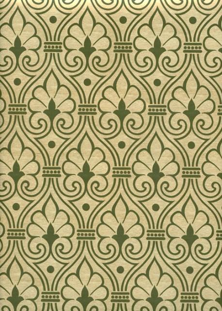 Fleurs de Damas vert olive réhaussé or (70x100)