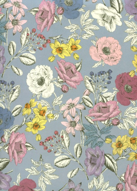 Floral coloré fond bleuté (70x100)