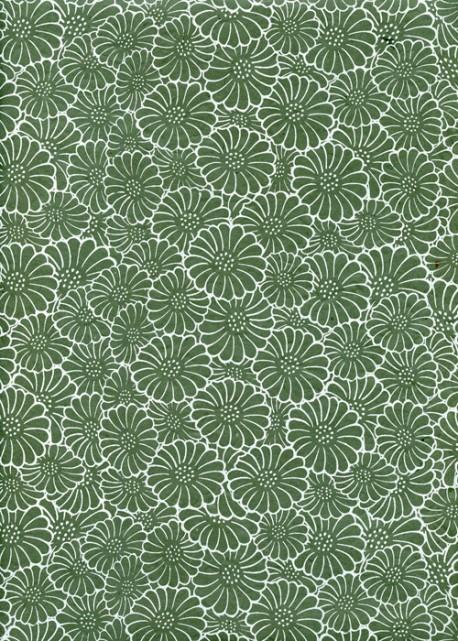Papier lokta floral blanc sur fond vert (50x75)