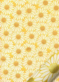 Papier lokta marguerites blanches coeur or fond jaune (50x75)
