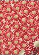 Papier lokta marguerites rouges coeur or fond naturel (50x75)