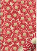 Papier lokta marguerites rouges coeur or fond naturel (50x75)