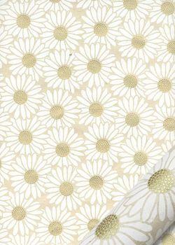 Papier lokta marguerites blanches coeur or fond naturel (50x75)
