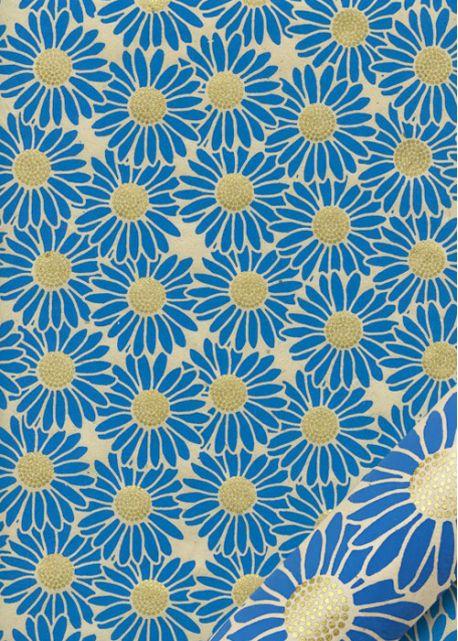 Papier lokta marguerites bleues coeur or fond naturel (50x75)