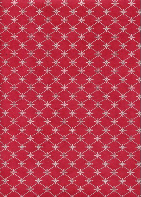 Papier lokta impression pendulaire argent fond rouge (50x75)