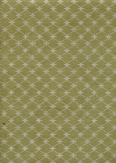 Papier lokta impression pendulaire argent fond tilleul (50x75)
