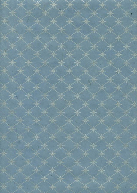 Papier lokta impression pendulaire argent fond bleu gris (50x75)