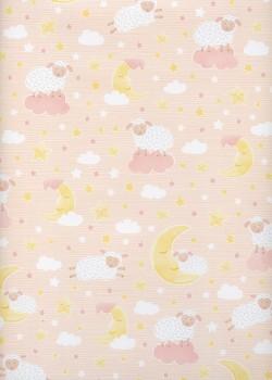 Les trois petits moutons fond rose (68x98)
