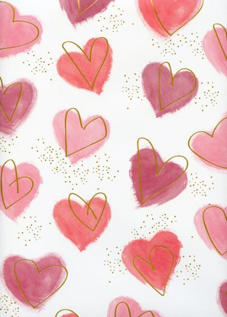 Coeurs peints réhaussé or (68x98)