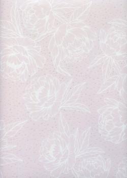 Floral blanc fond rose pastel pois nacrés (68x98)