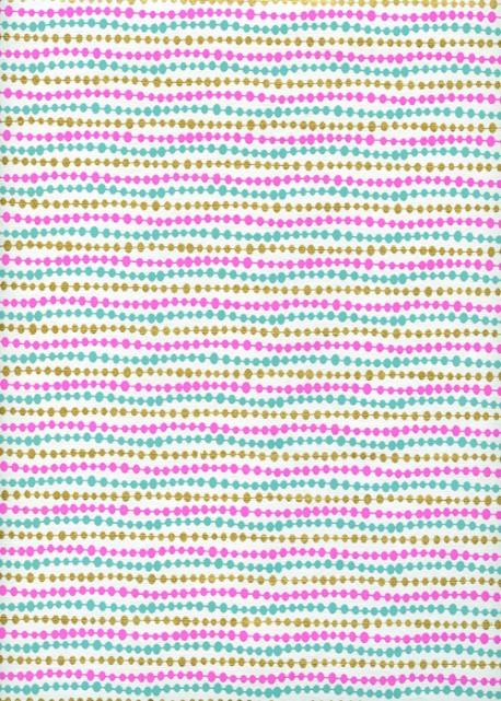 Guirlande de perles menthe fuschia et or sur fond blanc (50x70)