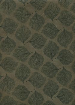 Papier lokta empreinte de feuilles noires fond kaki (50x75)