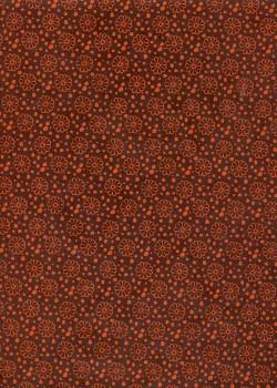 Papier lokta fleurs ton orange fond chocolat (50x75)