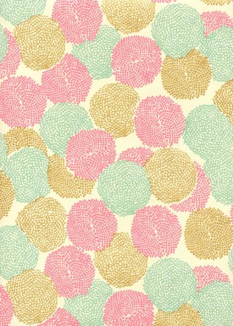 """""""Pompons""""rose menthe et or (50x70)"""