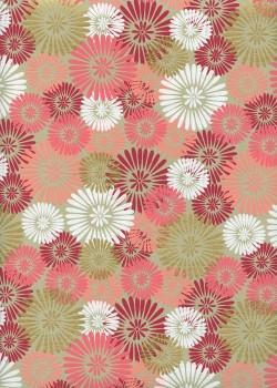 """""""Eclats de fleurs"""" rose blanc et or (50x70)"""
