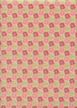 """Mini feuillage"" framboise rose et or (50x70)"
