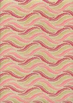 """Guirlande de feuilles"" framboise rose et or (50x70)"