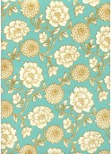 """""""Floral"""" turquoise et or (50x70)"""
