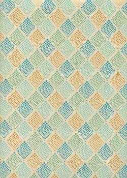 """""""Les losanges"""" menthe turquoise et or (50x70)"""