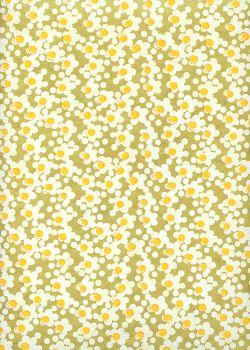 Papier lokta marguerites blanches coeur jaune fond anis (50x75)