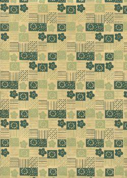 Lokta mosaique de fleurs ambiance verte (50x75)