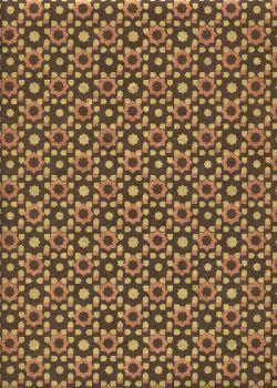 Papier lokta géométrique étoile or et cuivre fond chocolat (50x75)