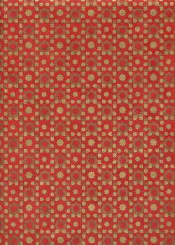 Papier lokta géométrique étoile or et cuivre fond rouge (50x75)
