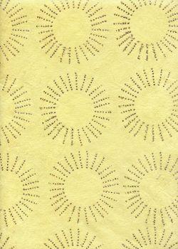 Papier fibre jaune avec soleil en paillettes (48x68)