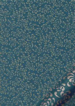 """Kinkaku """"floral argent fond bleu"""" (48x64)"""