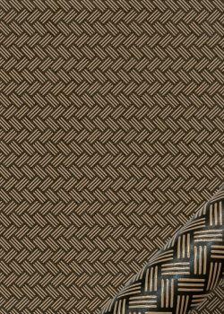 Tressé laqué beige fond kaki (48x65)
