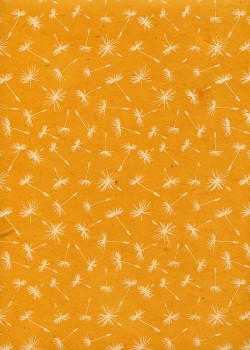 Papier lokta soufflet de pissenlit fond jaune (50x75)