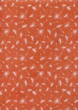 Papier lokta soufflet de pissenlit fond orange (50x75)