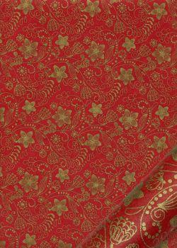Papier lokta arabesques florales or fond rouge (50x75)